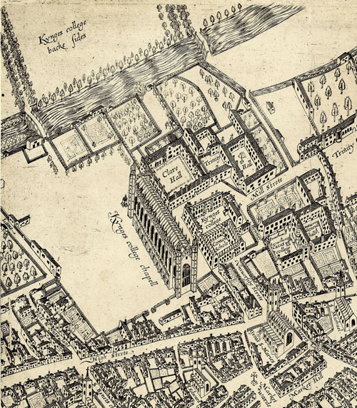 Part of a birds-eye view of Cambridge, measured and drawn by John Hamond of Clare Hall, 22 February 1592, showing the current Chapel and Old Court.
