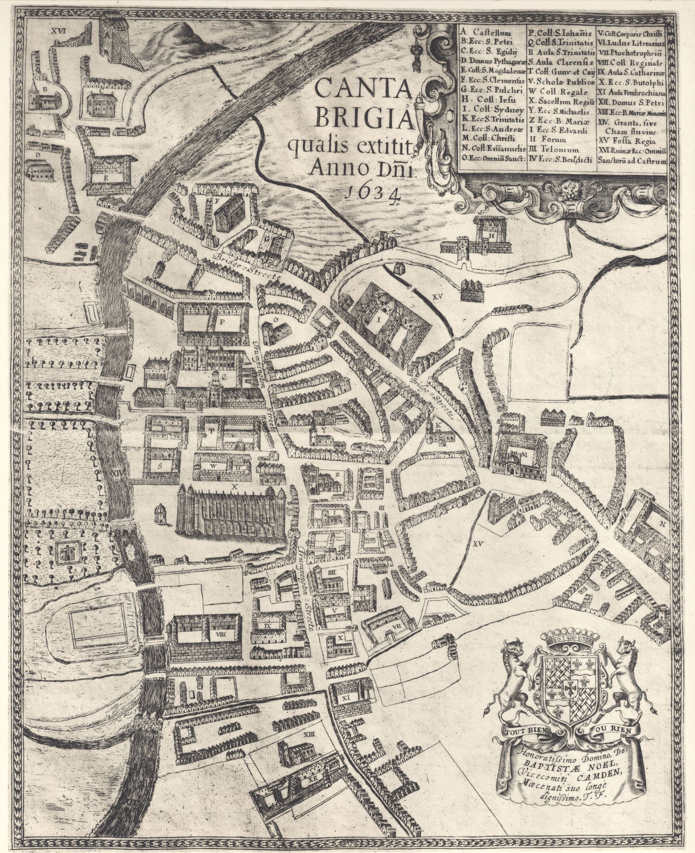 Plan of Cambridge, by Thomas Fuller, 1634, showing the current Chapel, the Old Court and other early College buildings. [Clark and Gray, plate 5]