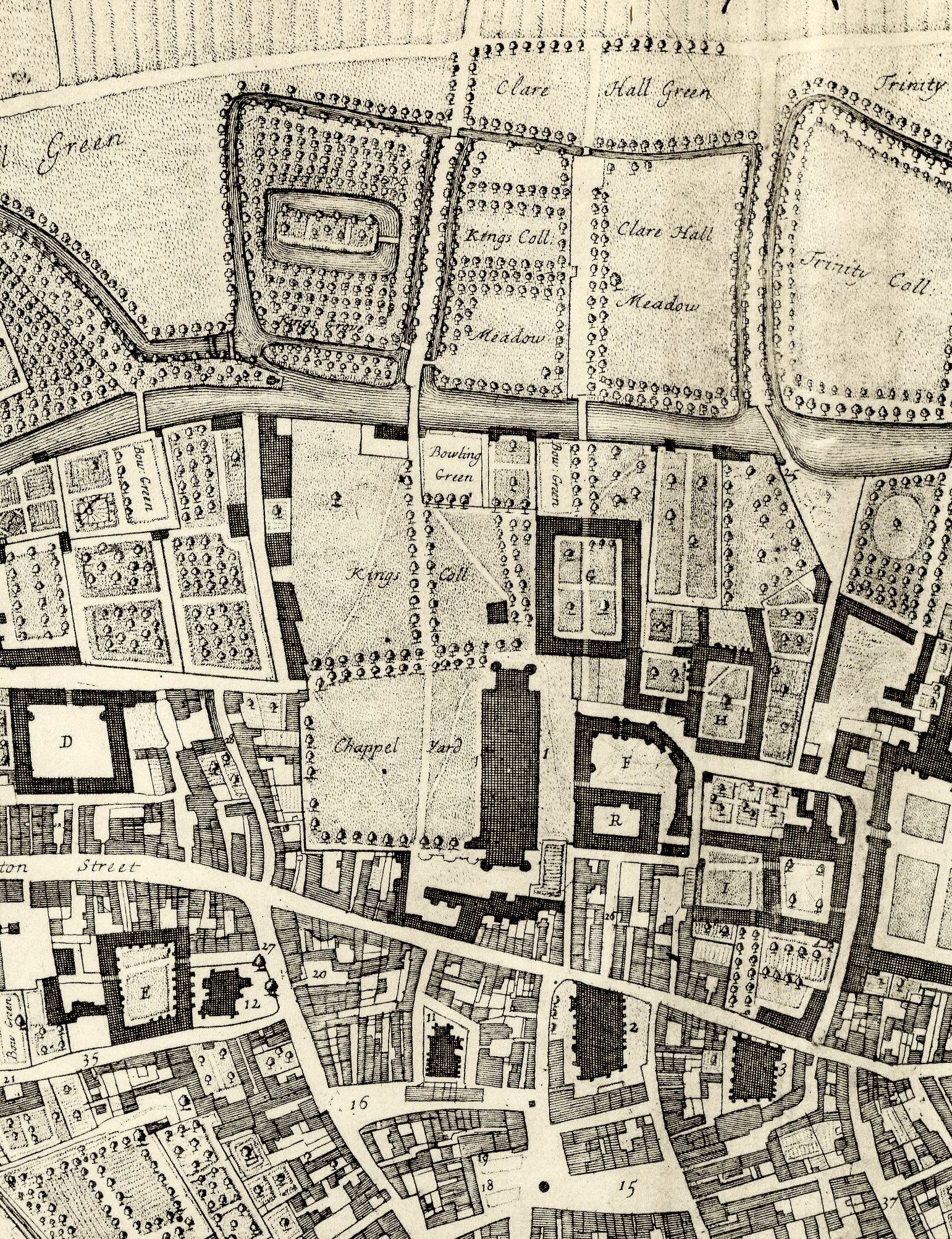 Part of a birds-eye view of Cambridge, by David Loggan, 1688, showing the current Chapel, the Old Court and other early College buildings. [Clark and Gray, plate 6 south]