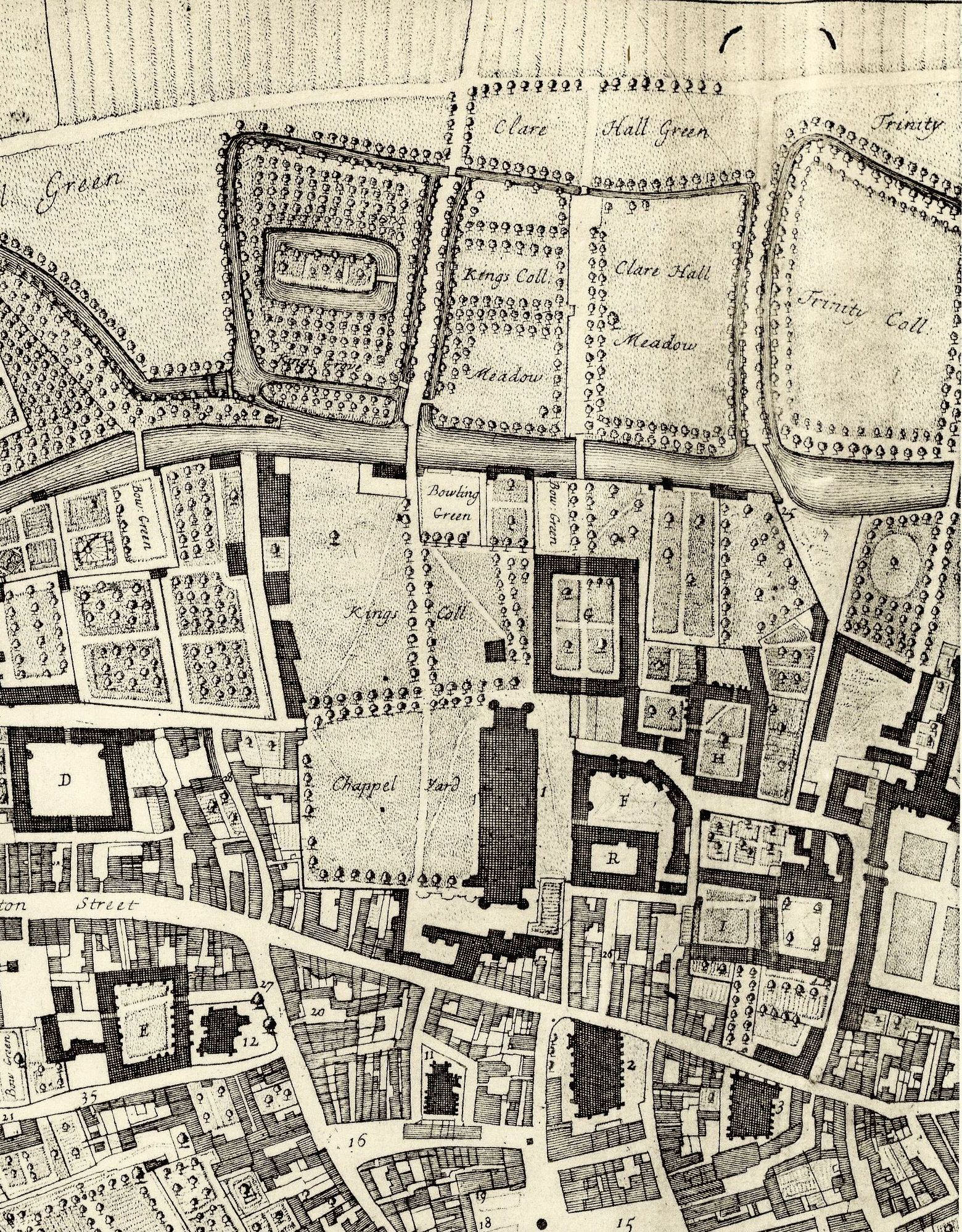 Loggan's map of the College site, 1688.