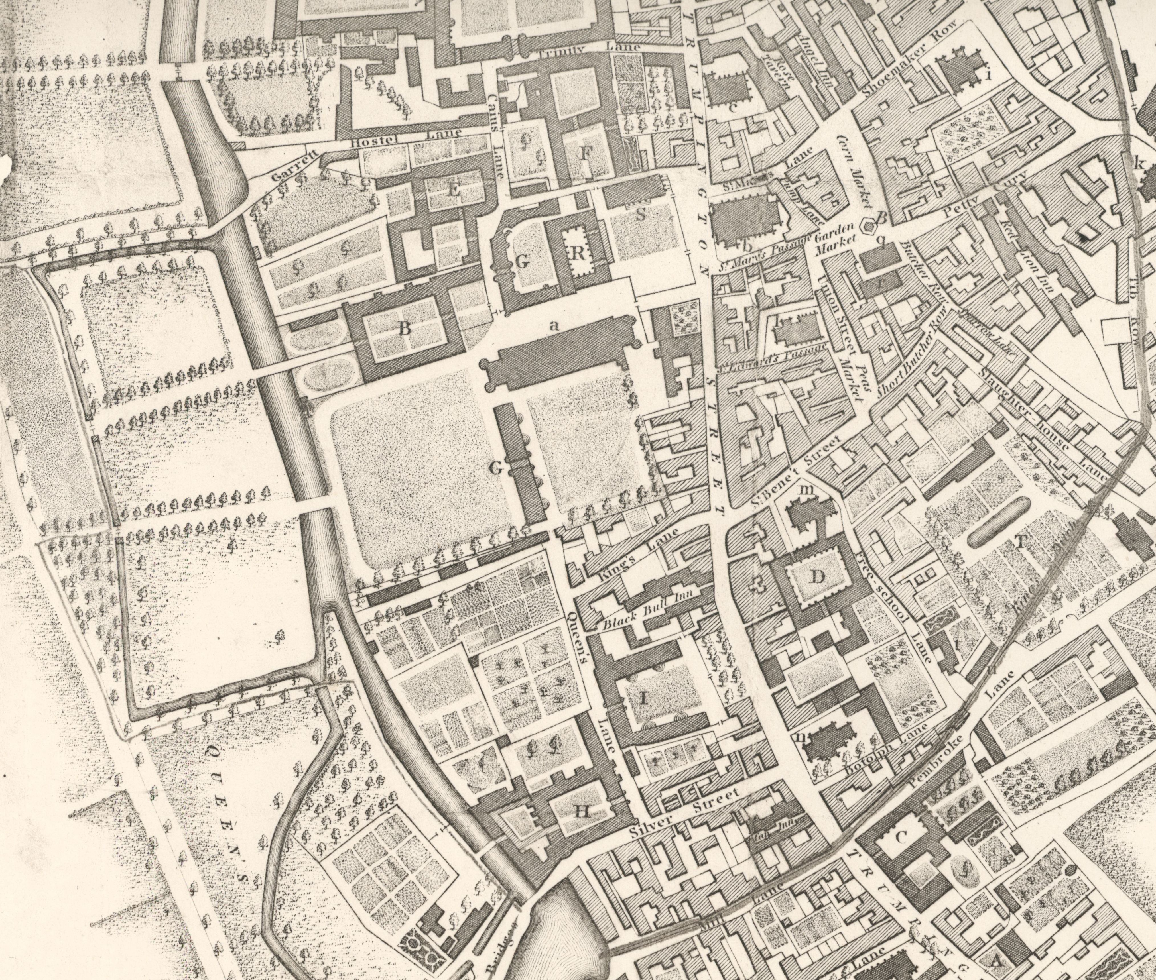 Part of a birds-eye view of Cambridge, by William Custance, 1798, showing the College site when the Gibbs building was complete but the Old Court was still in use. [Clark and Gray, plate 7b]