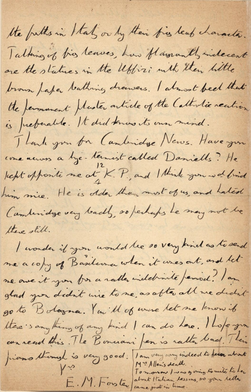 Continuation of Forster's letter to Edward Dent, concerning the Pensione Simi. [EMF/18/151]