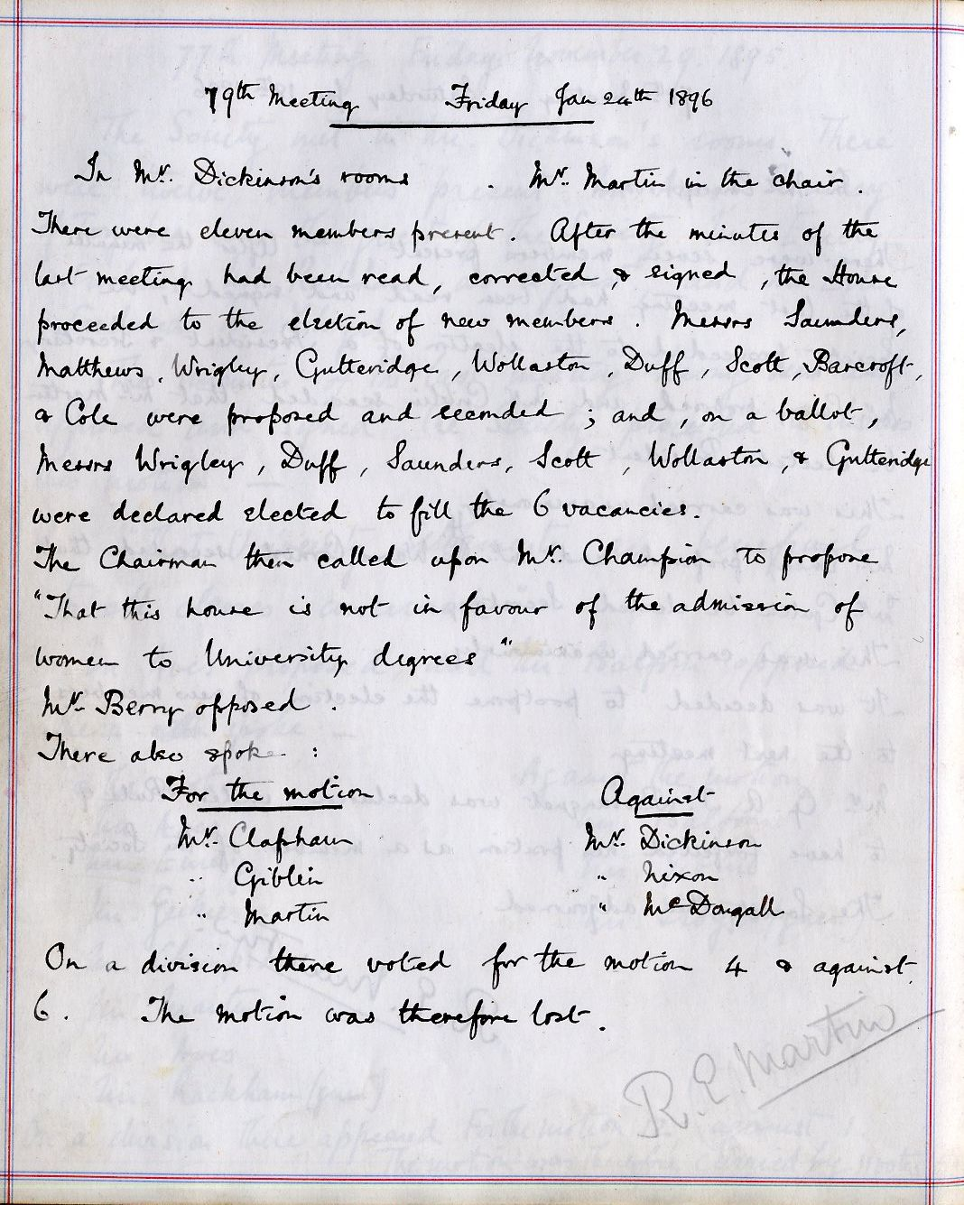 Motion of the Walpole debating society at King's, in favour of the admission of women to University degrees, in 1896. [Walpole Society minutes]