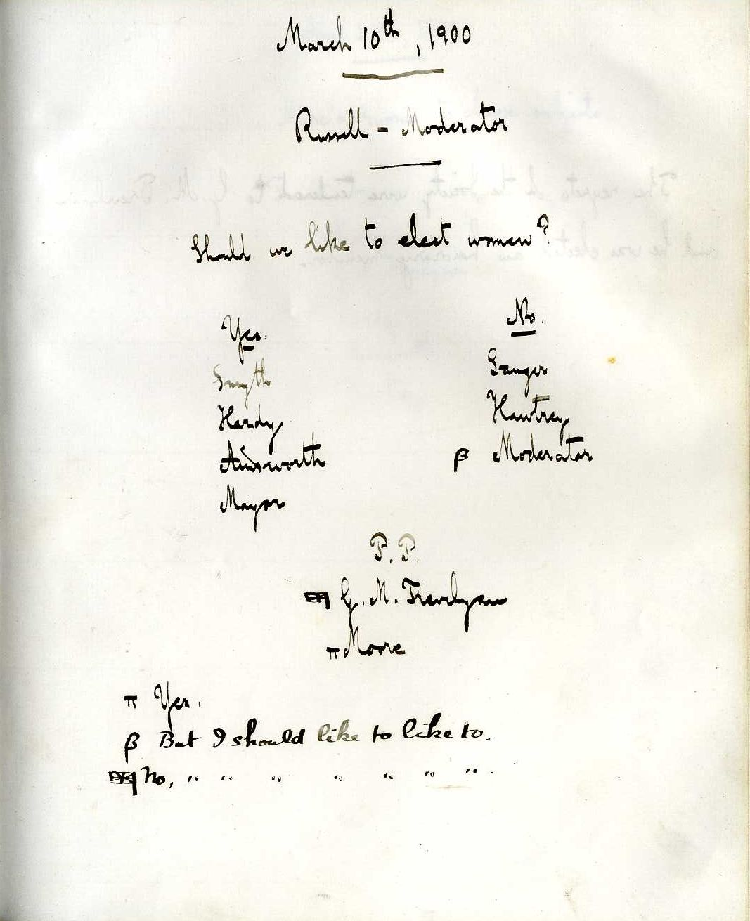 Minutes of a meeting in which Bertrand Russell asked 'Should we like to elect women?' [KCAS/39/1/13, 10 March 1900]