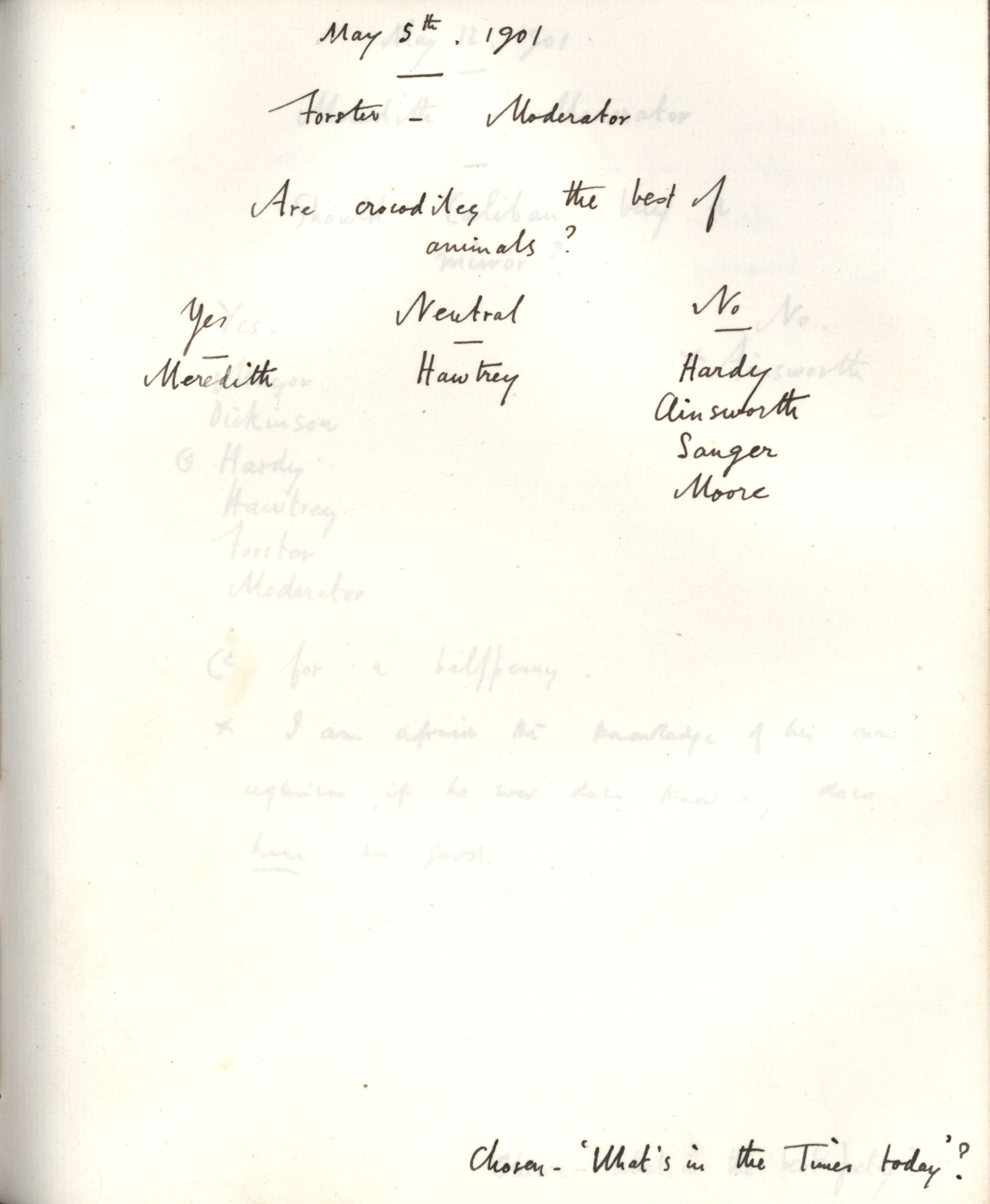 Minutes of a meeting, possibly Forster's first as Moderator, in which he asked 'Are crocodiles the best of animals?' [KCAS/39/1/13, 5 May 1901]