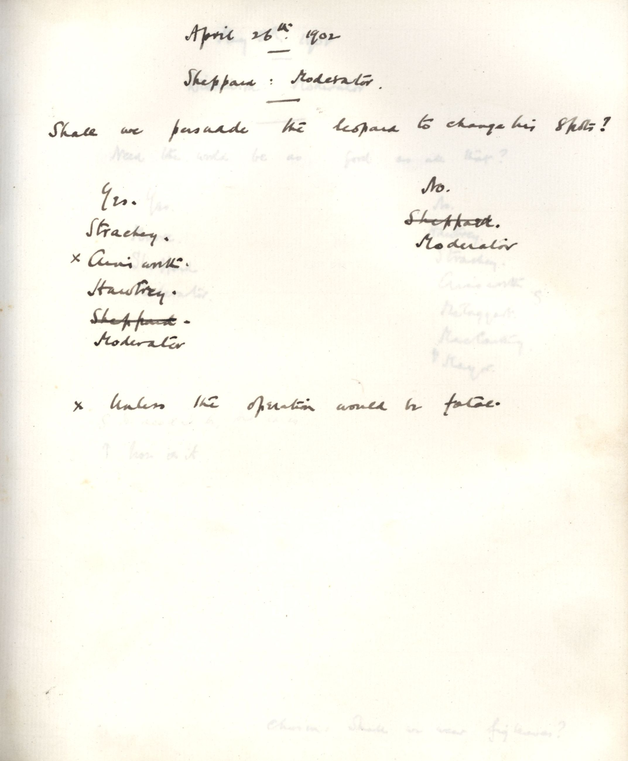 Minutes of a meeting in which Sheppard asked 'Shall we ask the leopard to change his spots?' [KCAS/39/1/13, 26 April 1902]