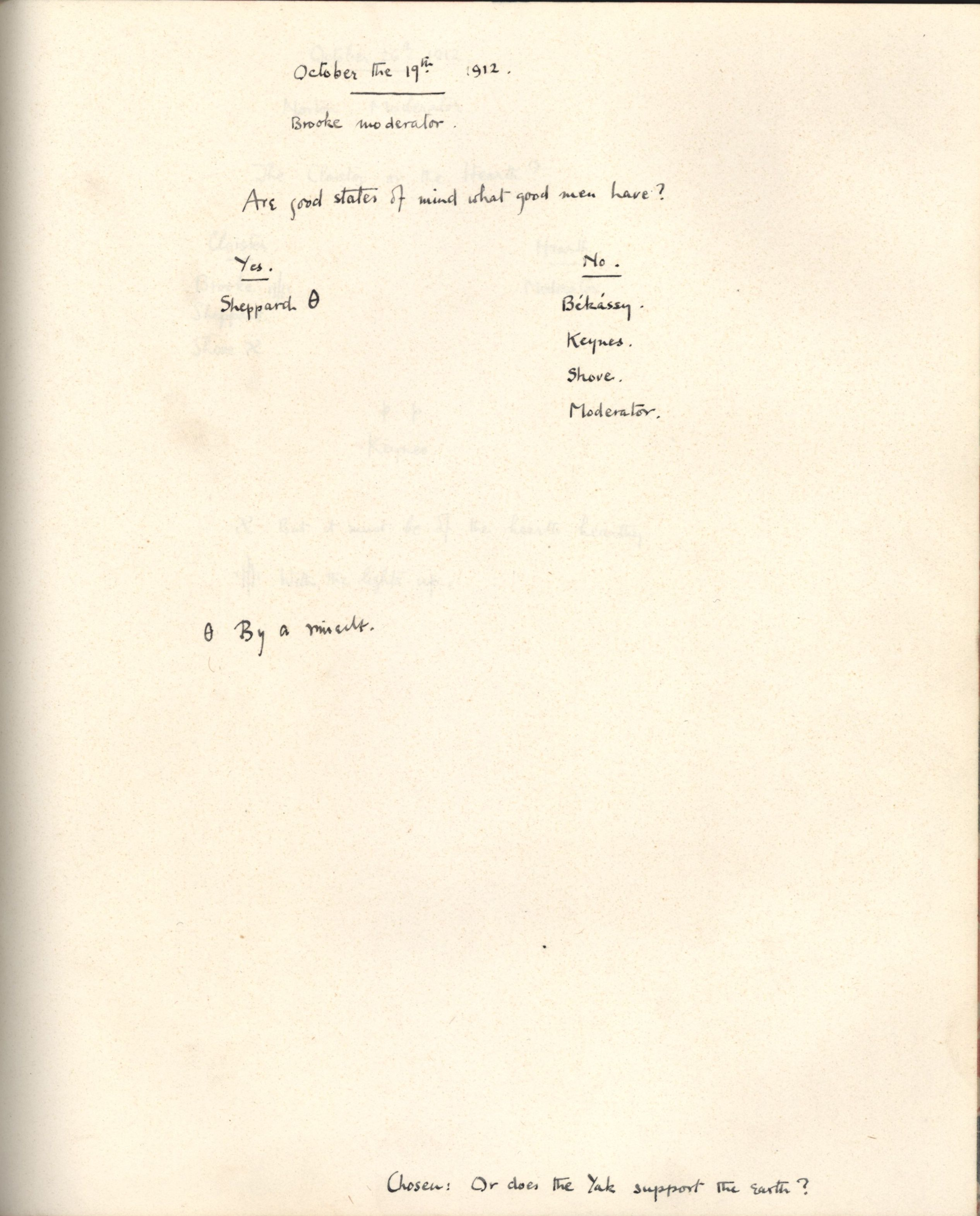 'Are good states of mind what good men have?', Apostles minutes with Brooke as moderator, dated 19 October 1912. [KCAS/39/1/15]