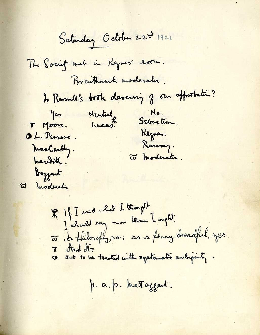 Minutes of a meeting in which Braithwaite asked 'Is Russell's book deserving of our approbation?' [KCAS/39/1/16, 22 October 1921]