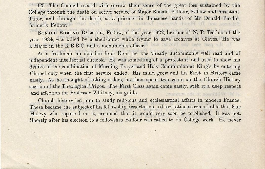 First page of Balfour's College obituary. [Annual Report, 1945]