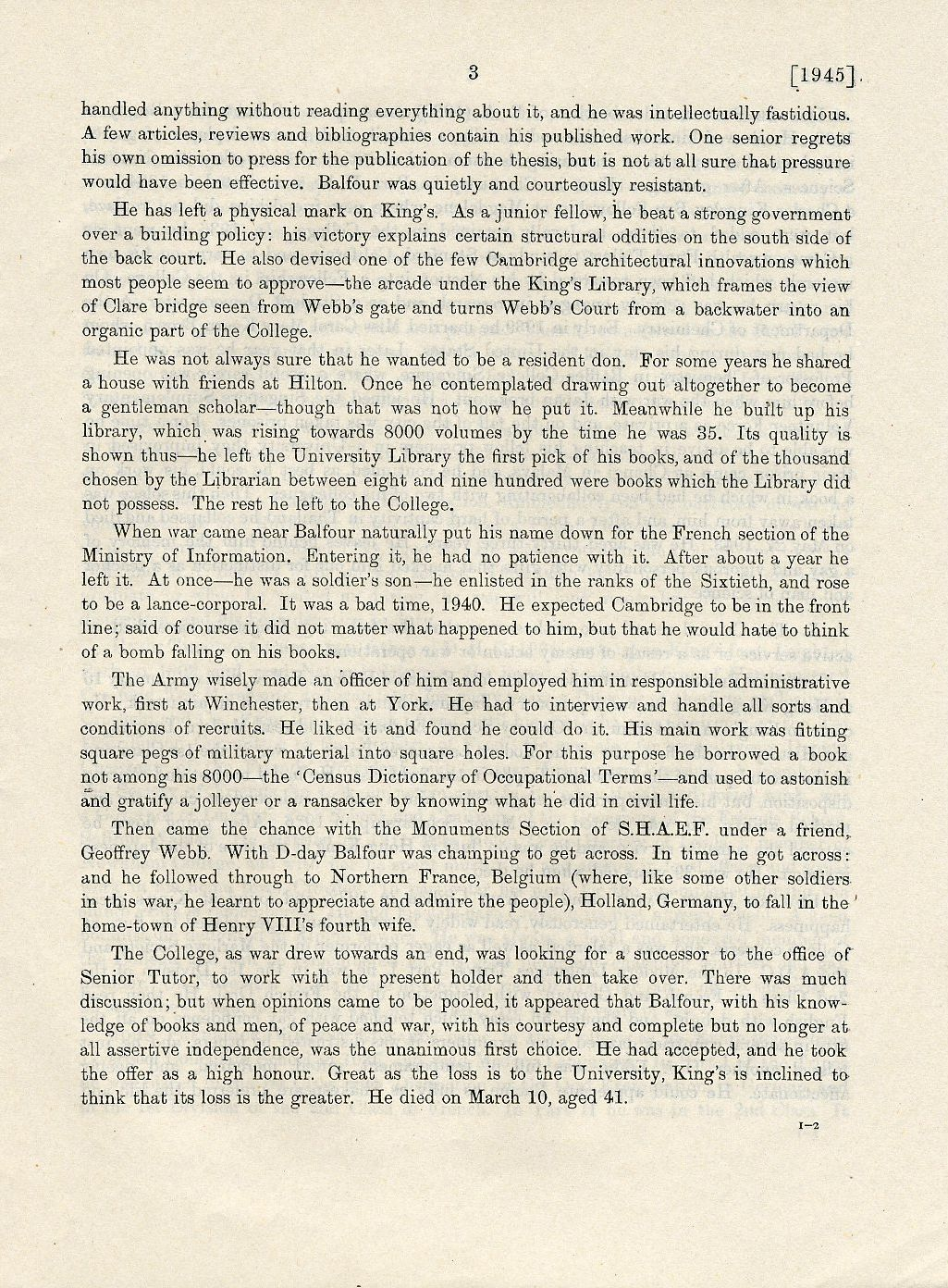Second page of Balfour's College obituary. [Annual Report, 1945]