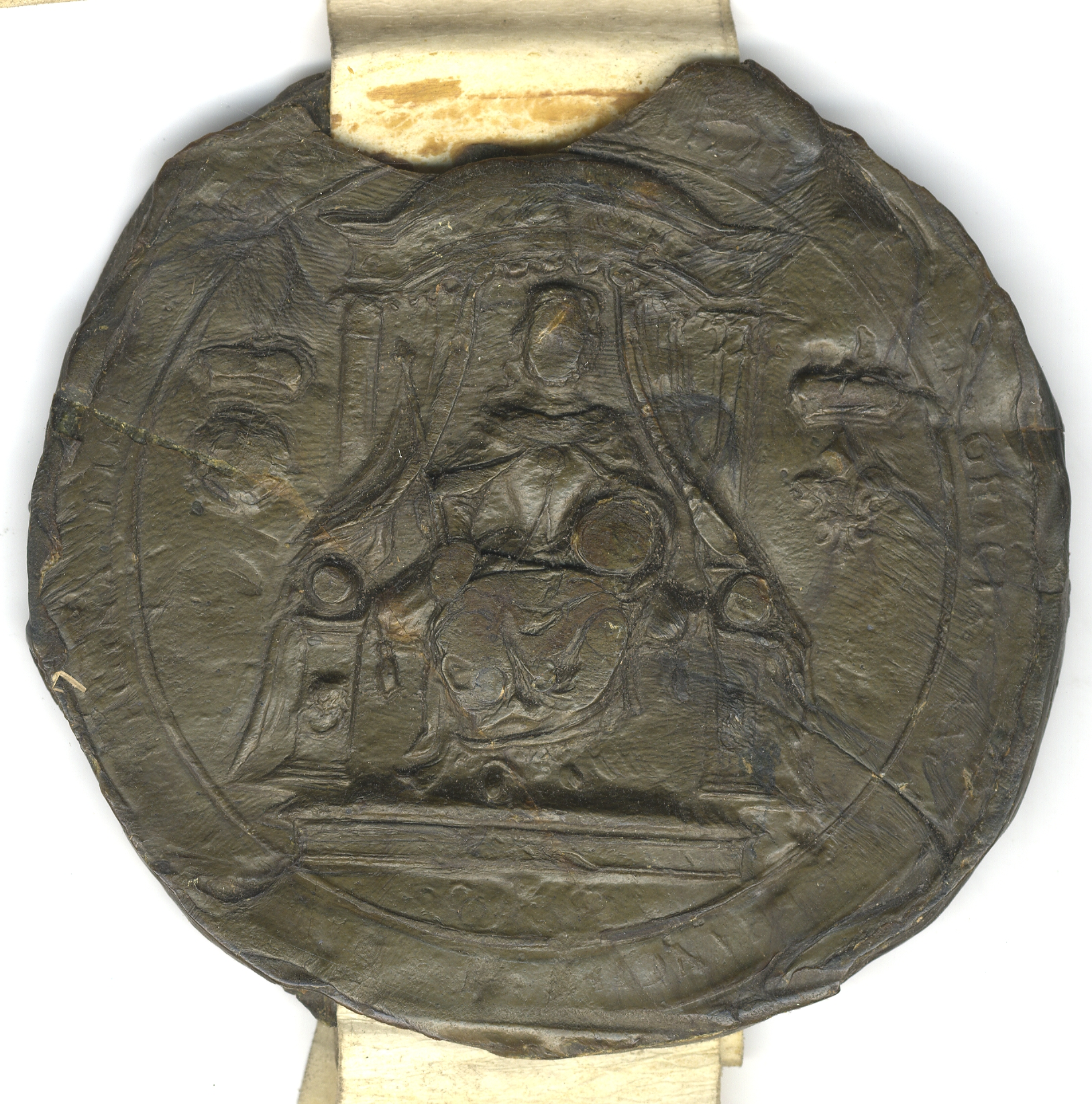 Privy Seal of Elizabeth I, the Queen enthroned. (SAC/60)