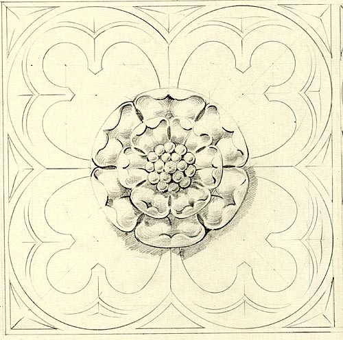 Tracing and drawing of cornice panel designs, bosses in quatrefoils for Hall. [undated]