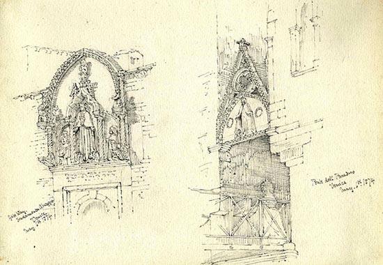 The Fondamenta Abruzzia gateway and the Ponte de Paradiso, Venice (6 May 1874)
