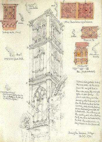 The tower of Basilica San Francesco, Bologna (27 April 1874)