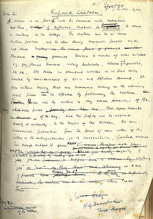 Draft report on canteen (1920)