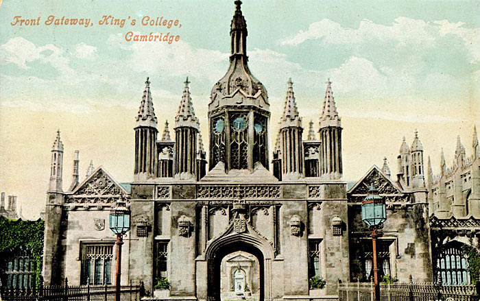 Tinted postcard of King's College Gateway