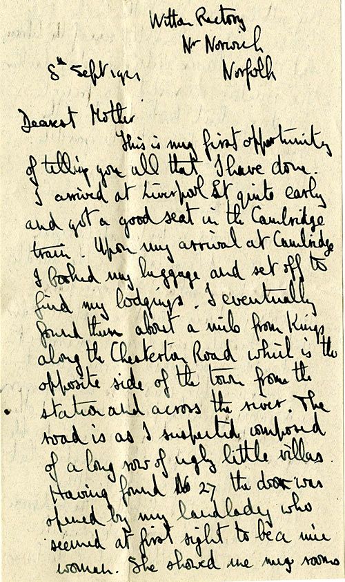 Opening page of letter dated 8 Sep 1921
