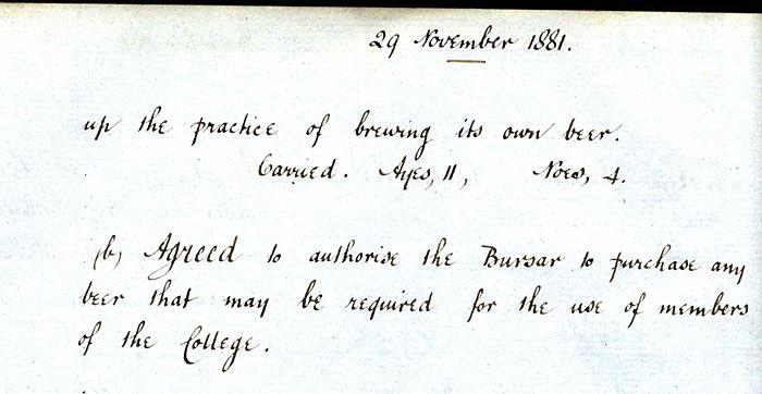 Congregation minutes December 1881