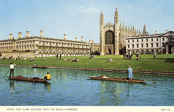 Colour postcard of summer tourists punting (undated)