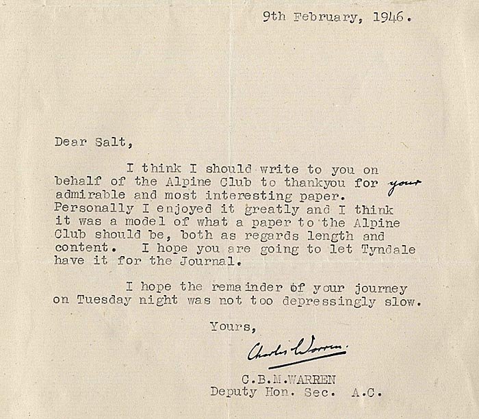 Letter from the Secretary of the Alpine Club to G. Salt (1946)