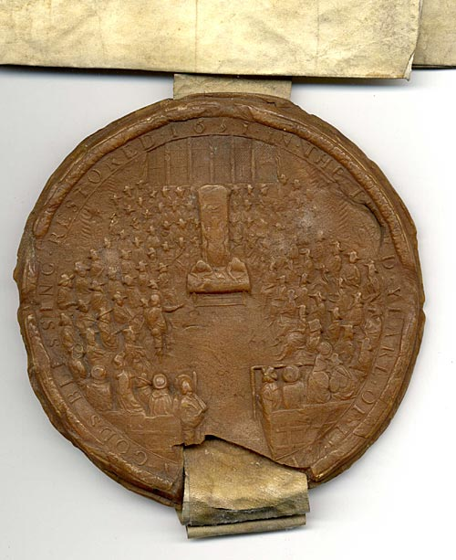 Grant of Gascon wine annuity with Cromwell's seal (1655)