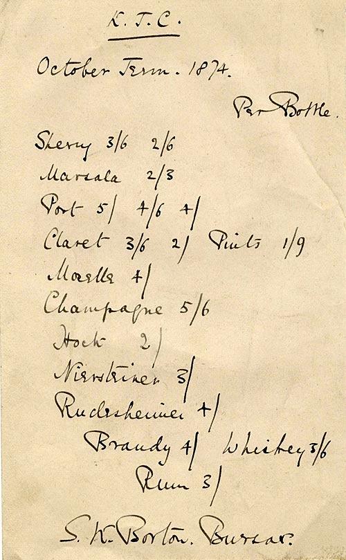 Junior Combination wine list (1874)