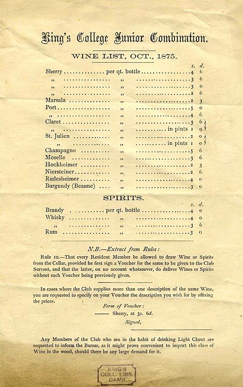 Junior Combination wine list (1875)