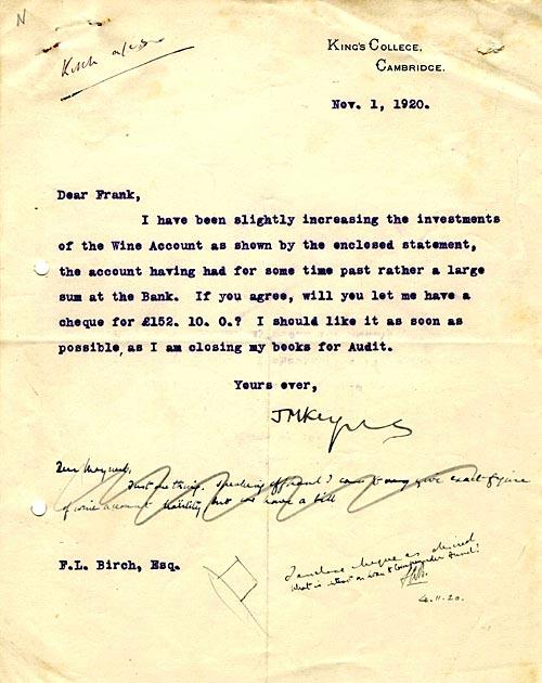 Letter from John Maynard Keynes about Senior Wine Account (1920)