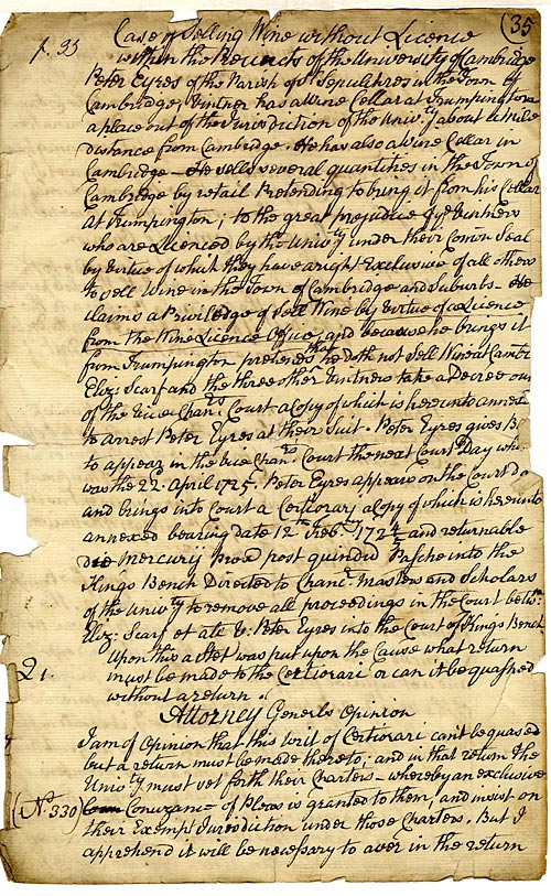 Dispute between Cambridge and University over the sale of wine (18th C.)