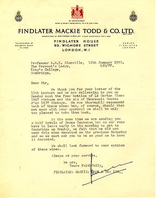 Letter from the college wine supplier (1955)
