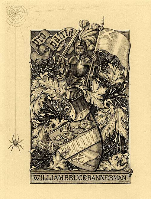 Bookplate of William Bruce Bannerman (note the spider and web)