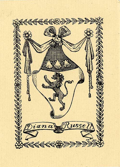 Bookplate belonging to Diana Russell