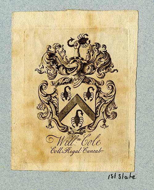 William Cole's bookplate (18th century)