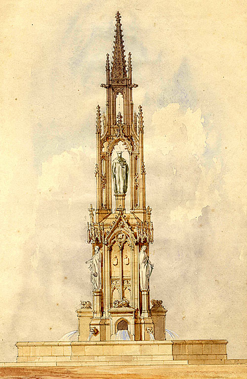 Henning's watercolour of a proposed fountain