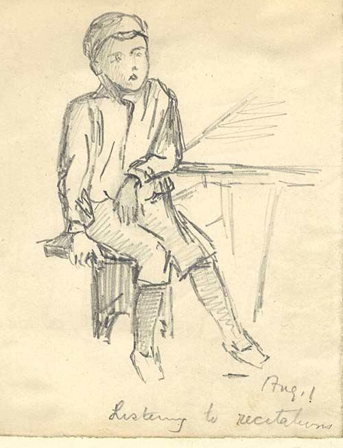 Boy listening to recitations