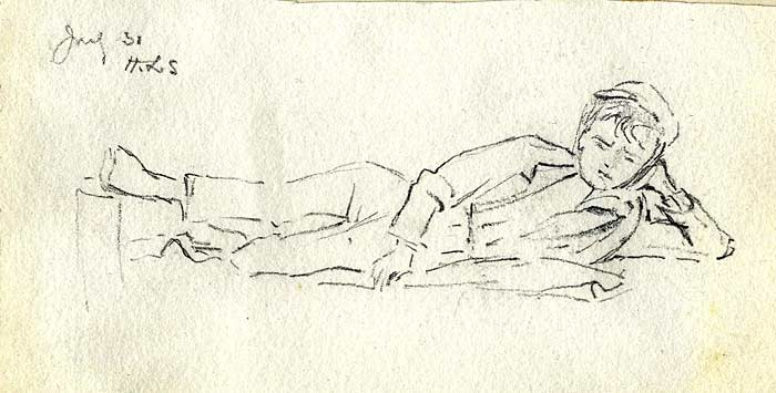 Sketch of a boy napping