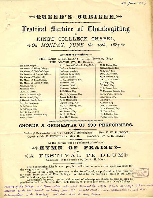 Program of Golden Jubilee Festival (1887)