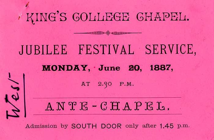 Ticket for Queen Victoria's Golden Jubilee Service in Chapel (1887)