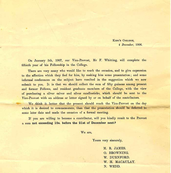 Request for contributions for Whitting's 50th Anniversary (1906)
