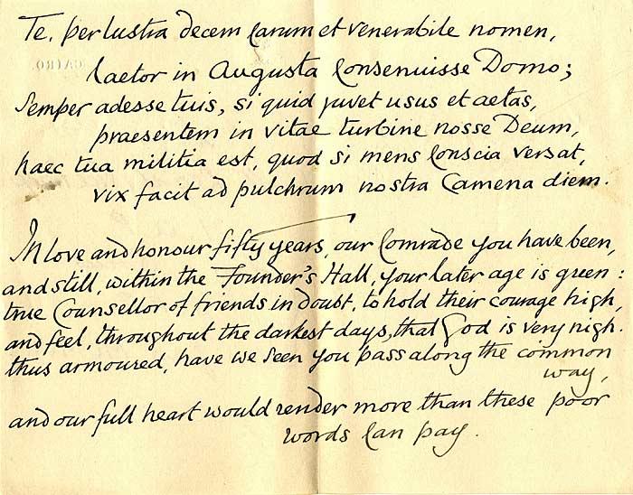Latin verse to mark Whitting's 50th anniversary (1907)