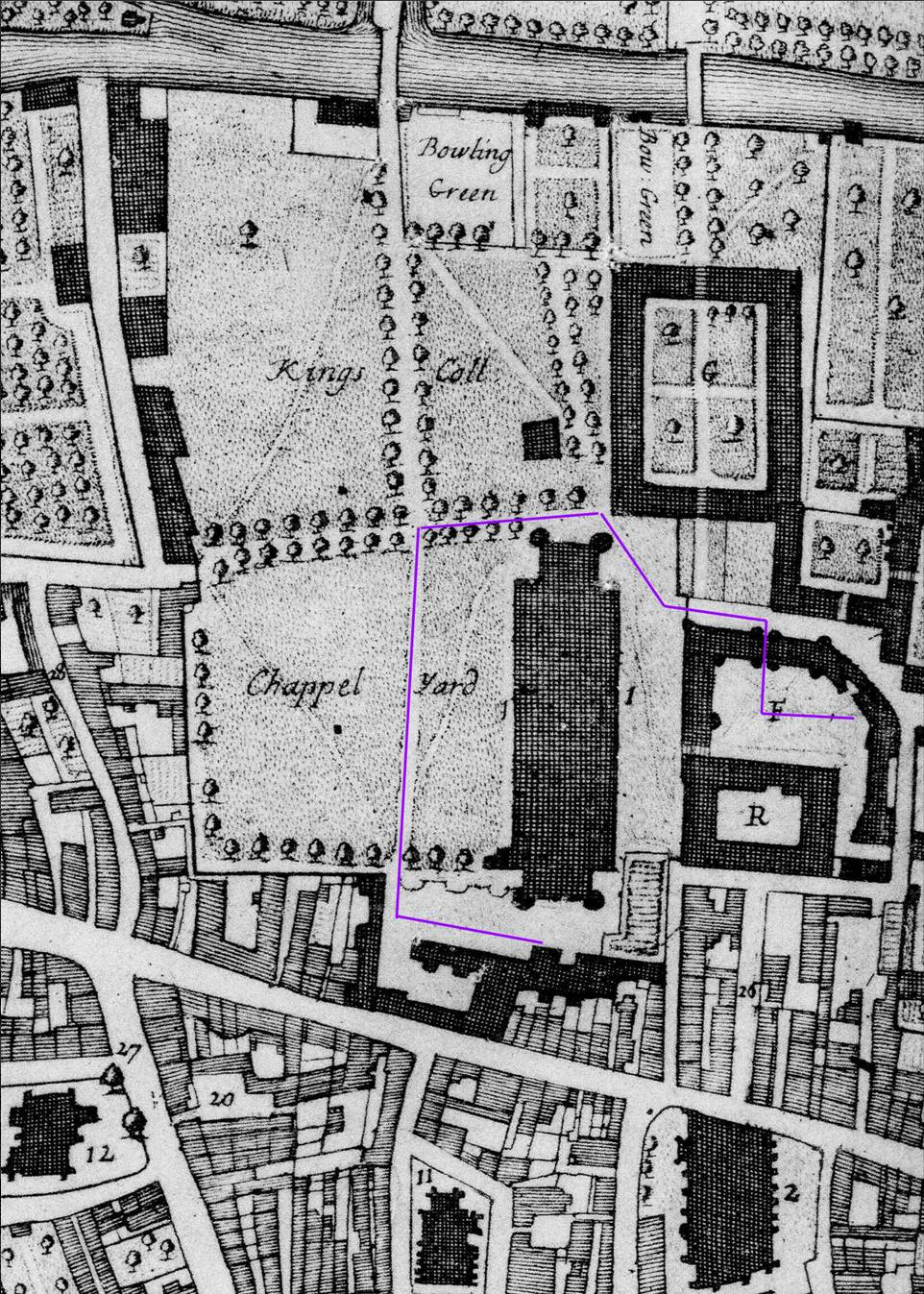 Loggan's map showing the College site as it was when the Queen visited. (JS/4/7)