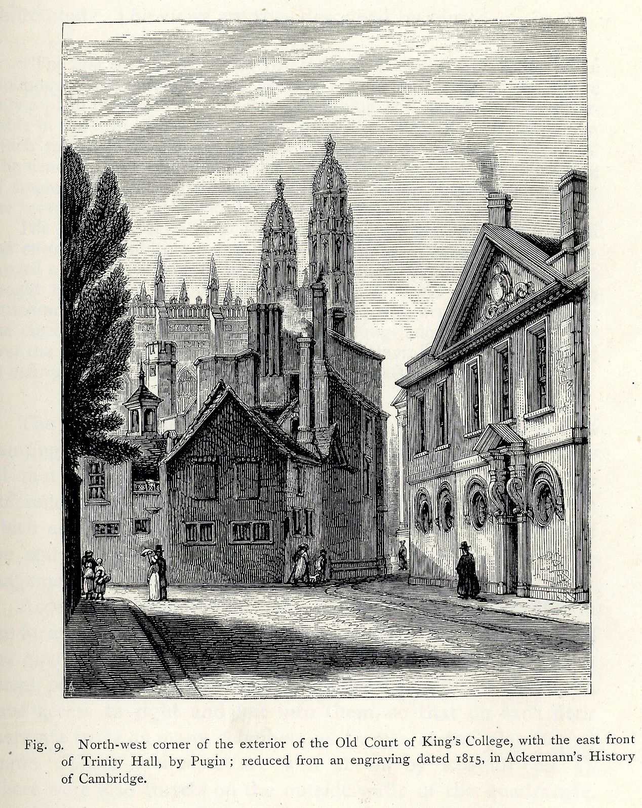 The old Hall, from Trinity Lane. (Willis and Clark after 326)