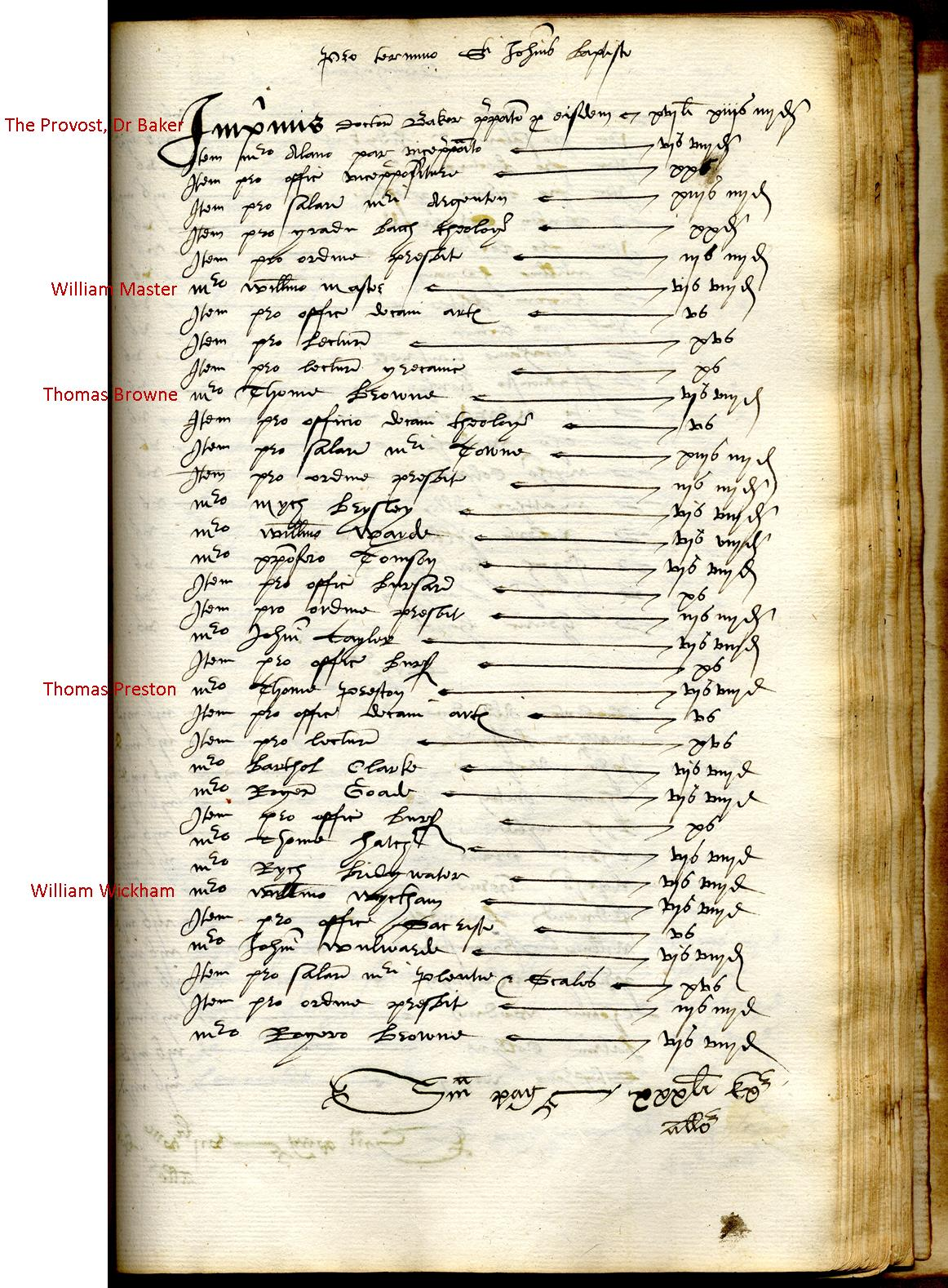 The list of Fellows at the time of Elizabeth's visit. (KCAR/5/1/1/14 fellows)