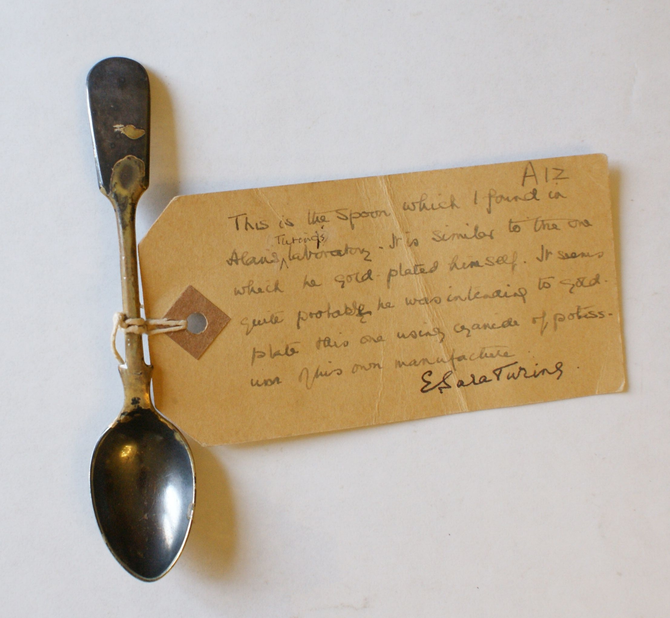 Label written by Sara Turing and attached to a spoon. [AMT/A/12]