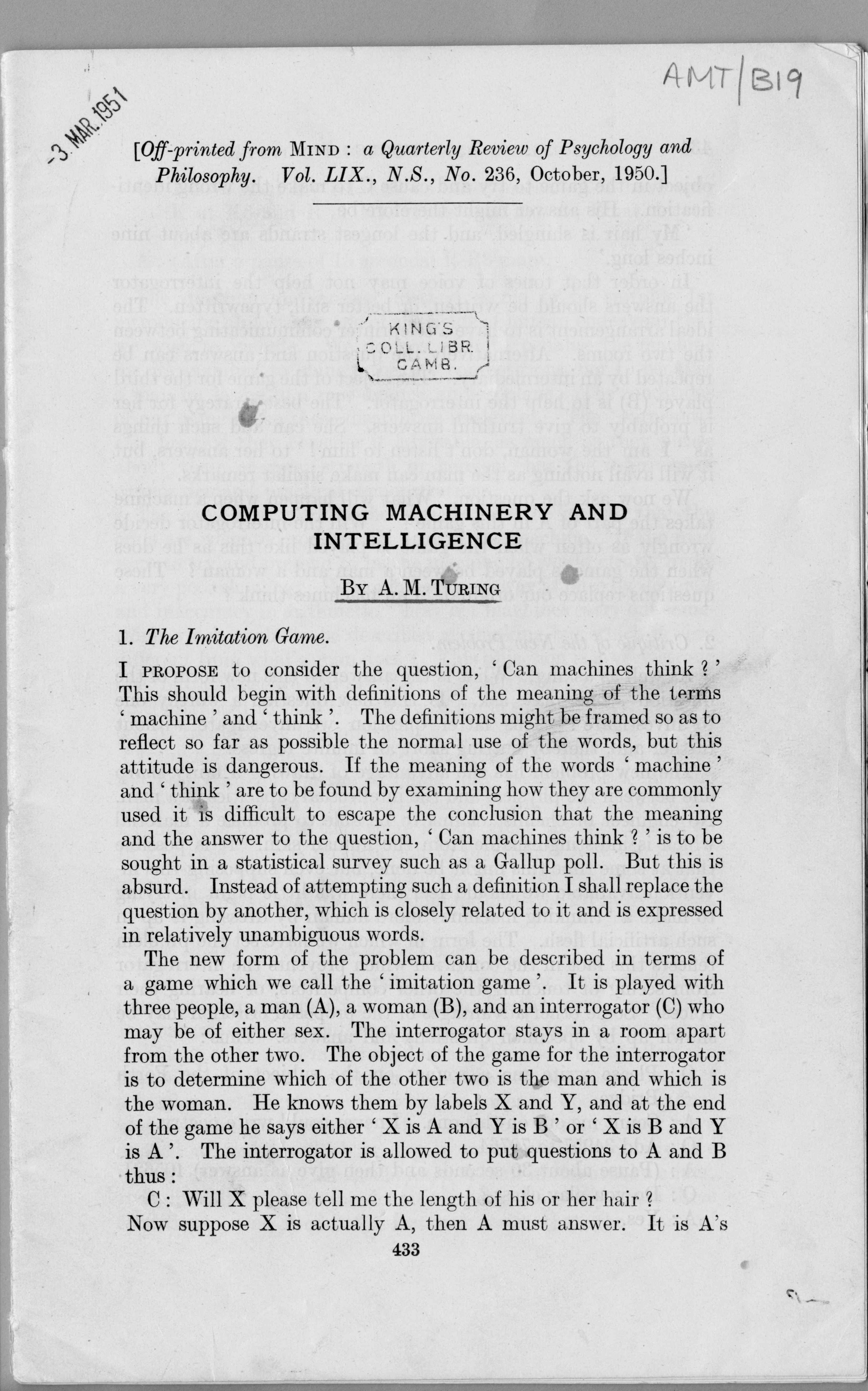 First page of 'Computing Machinery and Intelligence'. [AMT B/19]