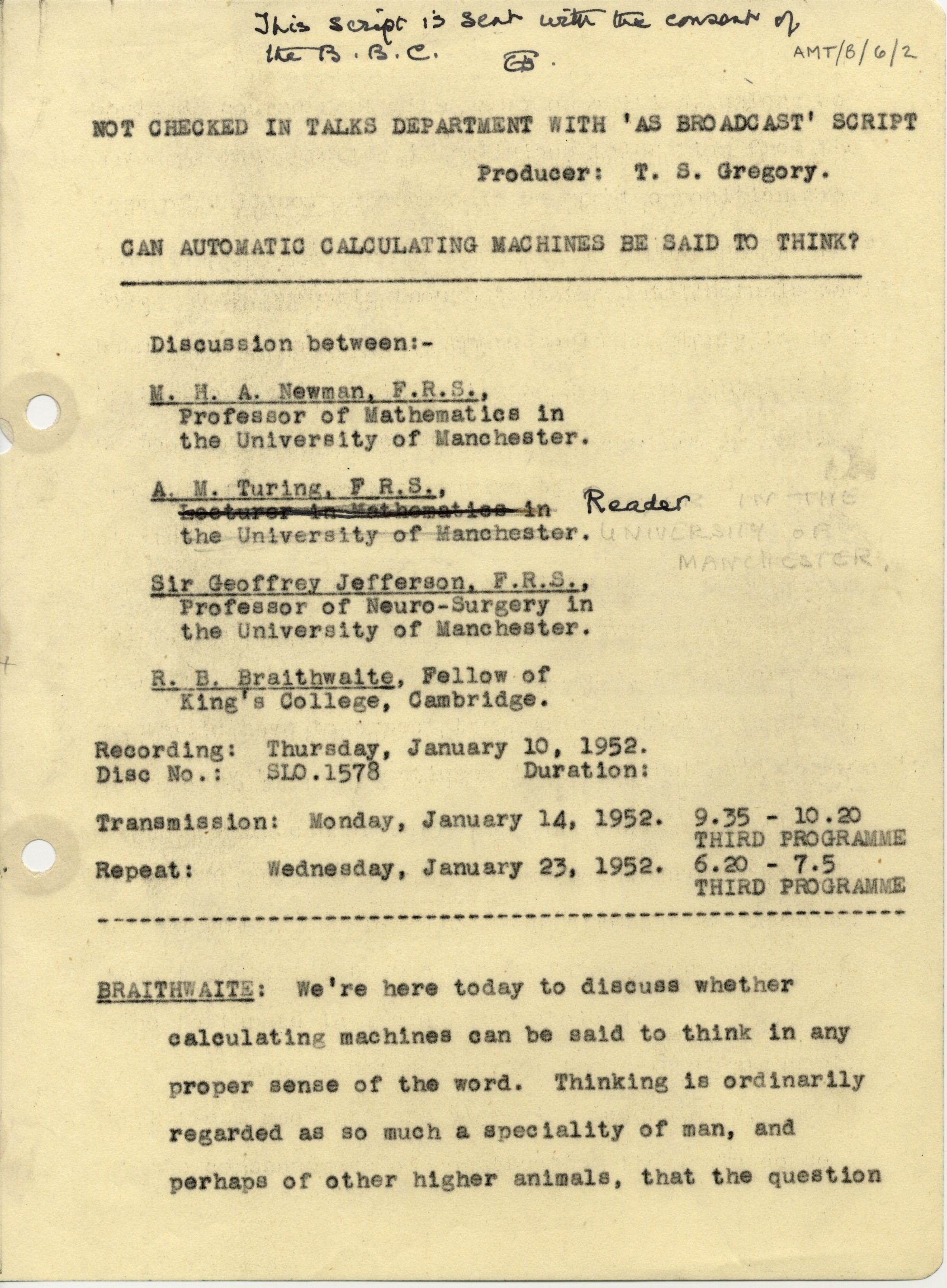 First page of a transcript of a 1952 BBC broadcast discussion about thinking machines, involving Turing. [AMT/B/6]