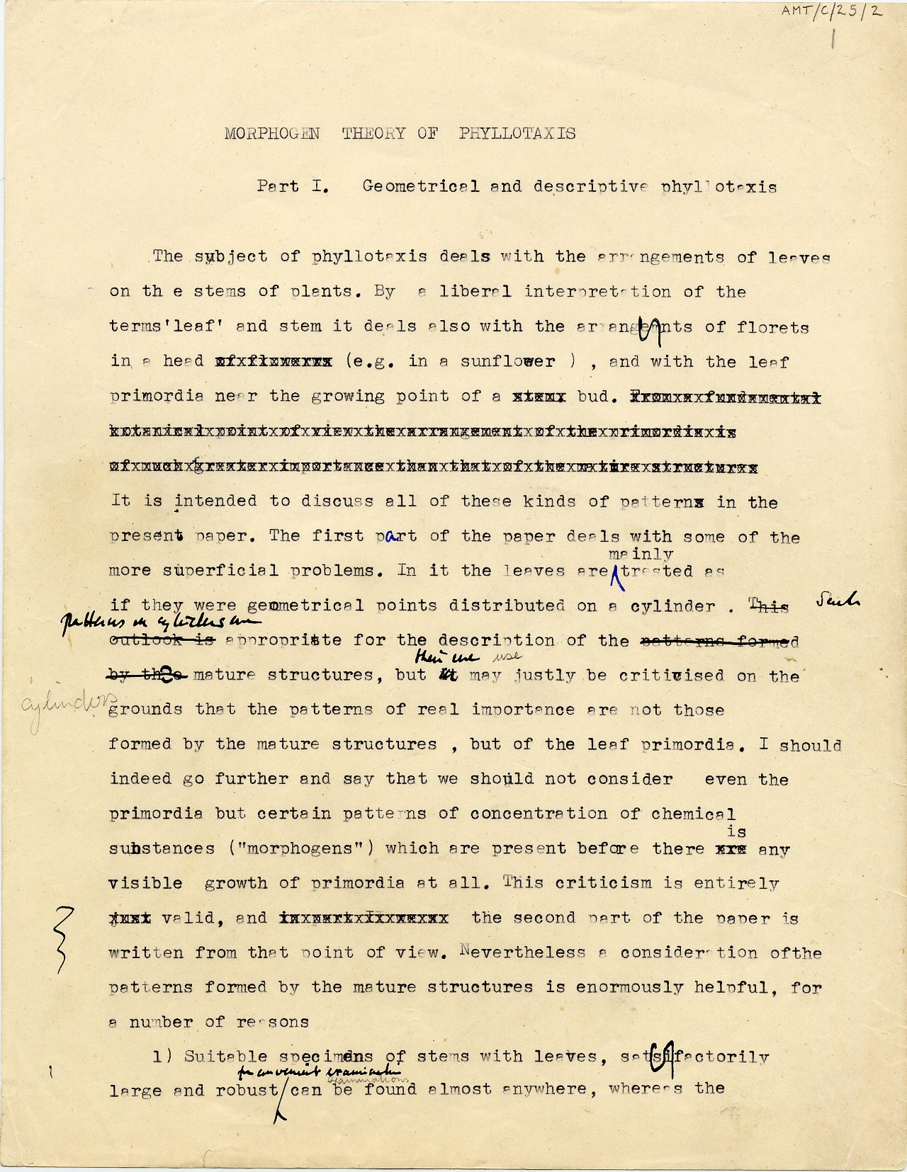 First page of Turing's 1951 paper on morphogenetic theory. [AMT C/25]