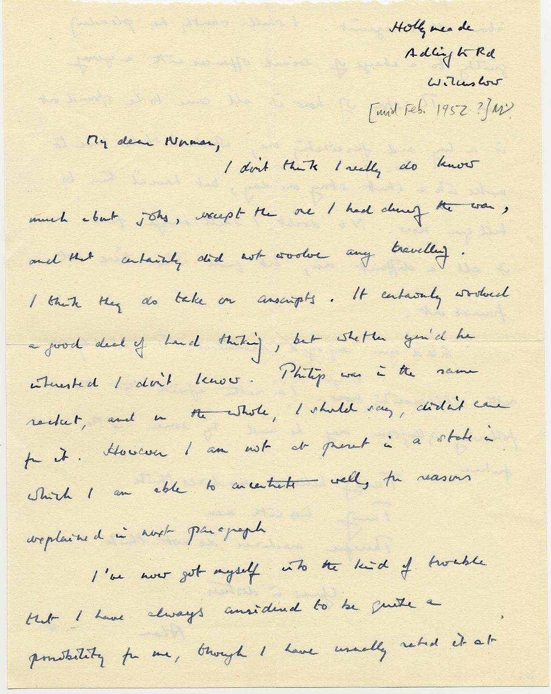 First page of Turing's letter to Norman Routledge, c. February 1952.  [AMT D/14a]