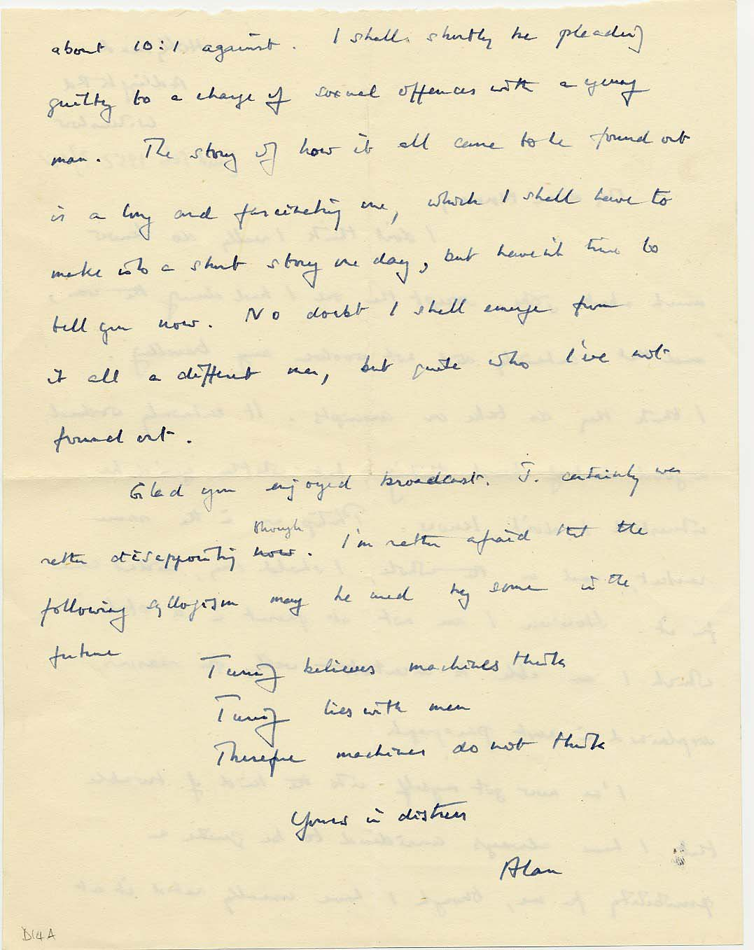 Second page of Turing's letter to Norman Routledge, c. February 1952.  [AMT D/14a]