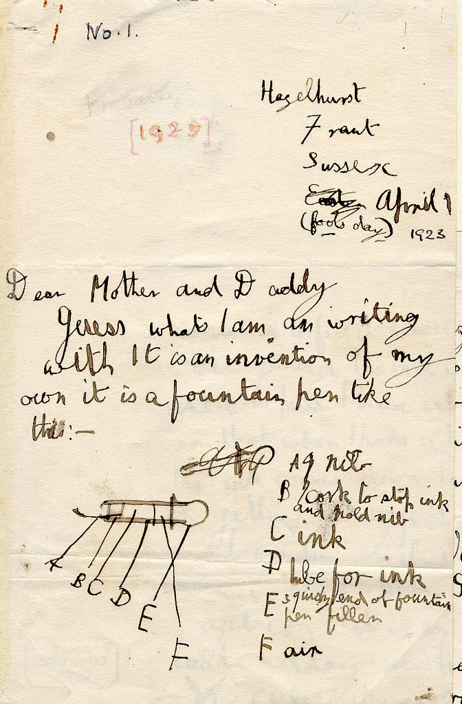 First page of a letter to his parents regarding an invention, an ink pen and ink. [AMT/K/1/1]